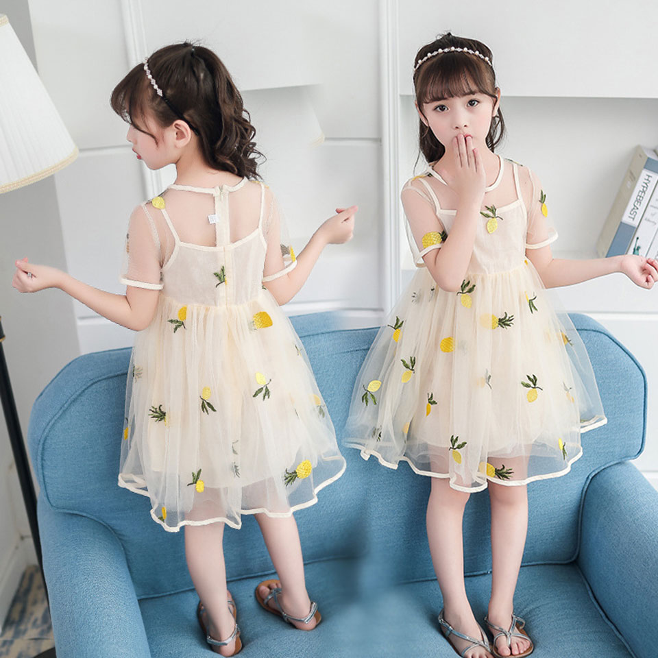 Casual Summer Baby Girl Dress Voile Fruit Pattern Girl Dresses Girls Clothes For Toddler Baby Girl Clothes 4 6 8 10 12 Years Old summer baby girl printed pattern straps dresses toddler girls baby clothing sleeveless baby dress kids casual clothes yp