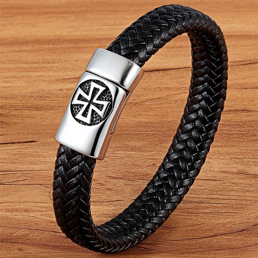 Xqni cor preta cruz padrão liga fivela pulseira de couro genuíno para homens aço inoxidável jóias finas escultura pulseira