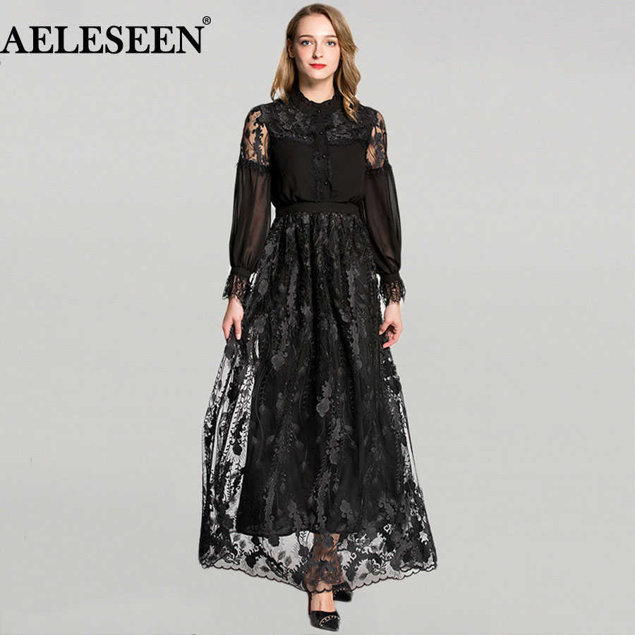 Novelty Full Sleeve Elegant Dresses Fresh Fashion Fairy 2018 Lace Mesh Patchwork White / Black Vintage Ruffles Summer Lace Dress
