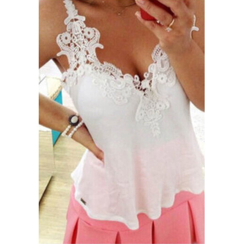 2015 Fashion Woman s Clothing Summer Blusas V Neck Sexty Femininas Chiffon Lace Tops Sleeveless Casual