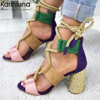 INS Hot Ankle wrap Colorful Chunky Heels Summer Party Shoes Woman Sandals Leisure Big Size 35 43 Gladiator High Heeled Sandals