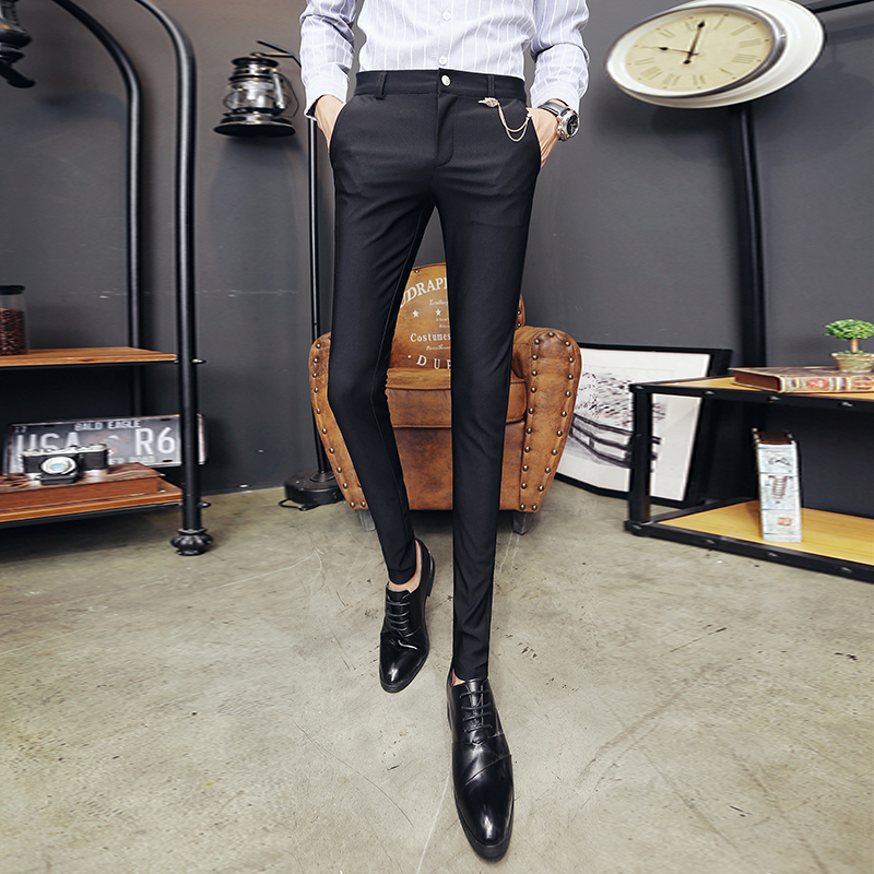 2018 new thin fashion Slim wild feet trousers tide male nightclub hair stylist Slim tight stretch casual pants