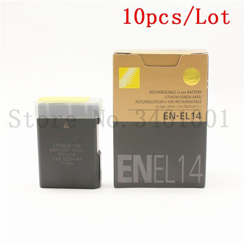 10pcs lot EN EL14 digital batteries ENEL14 EN EL14 Camera Battery pack For Nikon D5200 D3100