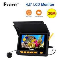 """EYOYO 4,"""" цветной ЖК HD 20 м рыболокатор DVR видео 5 в зарядное устройство 8 шт. ИК светодиодный камера для подводной рыбалки с литиевой батареей 4000 мАч"""