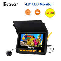 """EYOYO 4.3"""" Color LCD HD 20M Fish Finder DVR Video 5V Charger 8pcs IR LED Underwater Fishing Camera with 4000mAh Lithium Battery"""