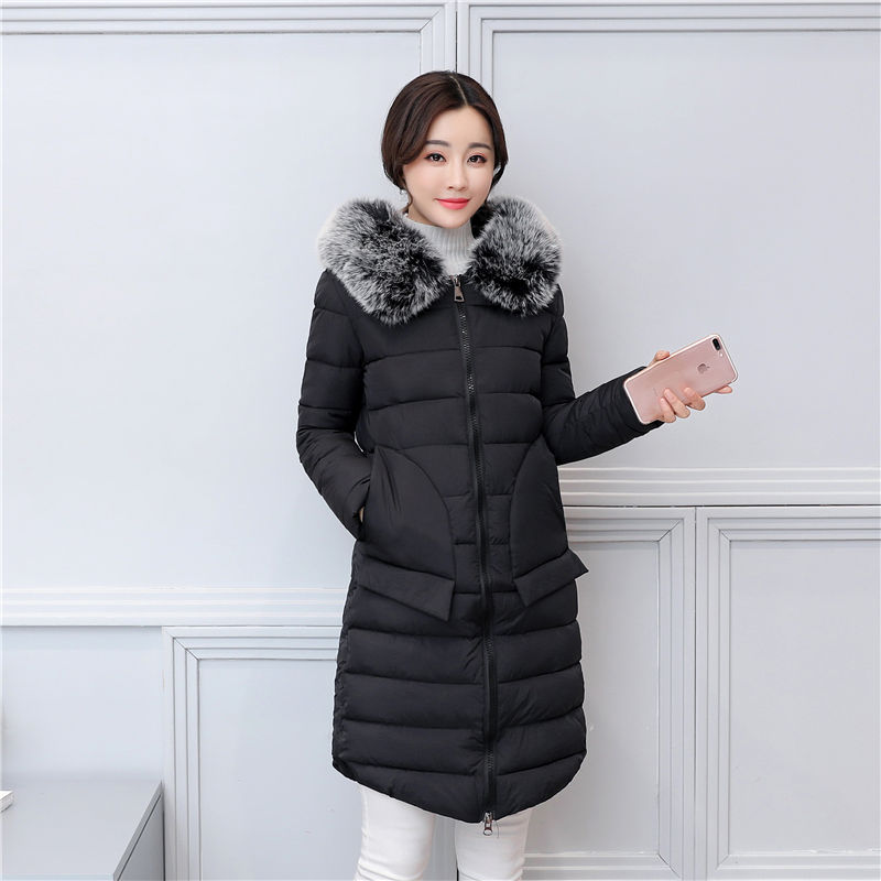 Women Parkas 2017 New Autumn And Winter Fashion Long Jacket With Fur Collar Cotton Padded Warm Casual Coat For Mom Hot 2014 autumn and winter women s fashion sexy new luxury fur collar jacket leopard fur coat was thin waist