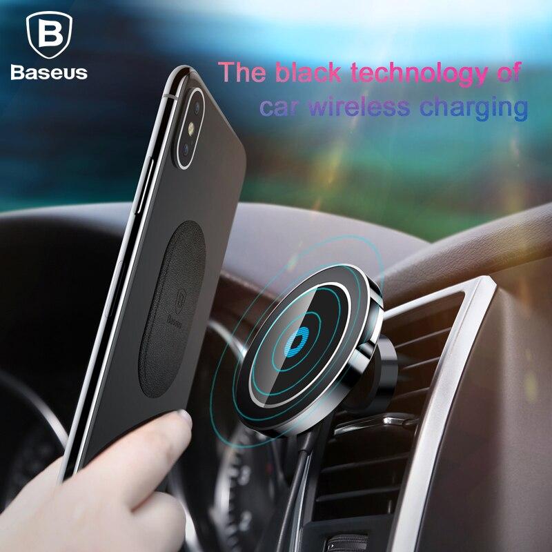 BASEUS Магнитная Беспроводной Зарядное устройство для iPhone X 8 8 плюс Samsung S8 S7 Примечание быстрой зарядки магнит автомобильный держатель телефон…
