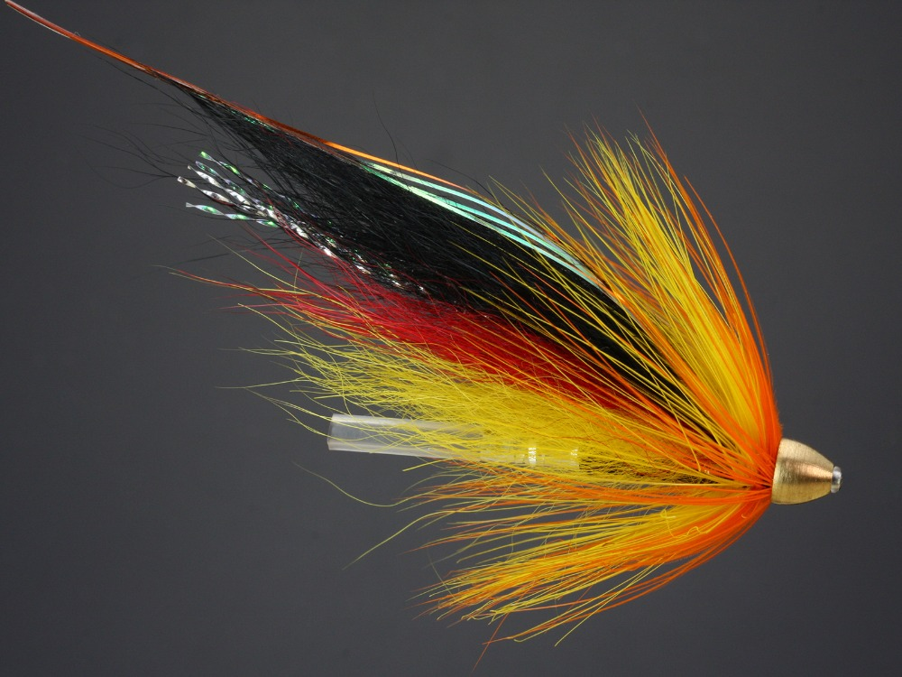 3 x black and orange tube fly for sea trout or salmon