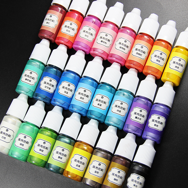 SNASAN 24 Colours 10ml Liquid Pearl Resin Pigment Dye for UV Resin Epoxy Resin silicone mold DIY Jewelry Making craft materia uv resin ultraviolet curing resin liquid pigment dye handmade art craft 15 color