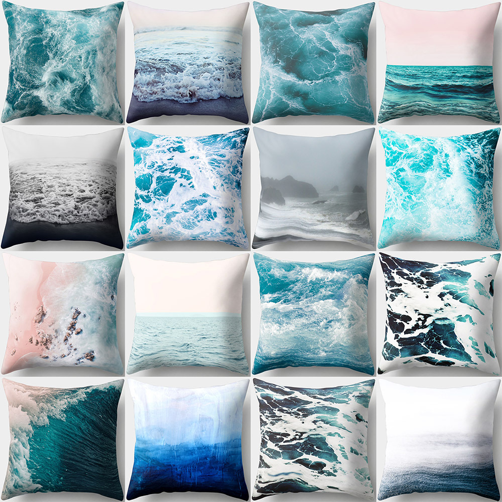 45x45cm Pillow Case Sea Wave For Home Car Sofa Couch Throw Pillow Polyester Peach Skin Cushion Cover Home Decor