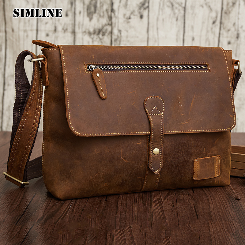 SIMLINE 2017 Autumn Vintage Genuine Crazy Horse Leather Cowhide Men Men's Messenger Bag Shoulder Crossbody Bags Handbags For Man simline 2017 vintage genuine crazy horse leather cowhide men men s messenger bag small shoulder crossbody bags handbags for man