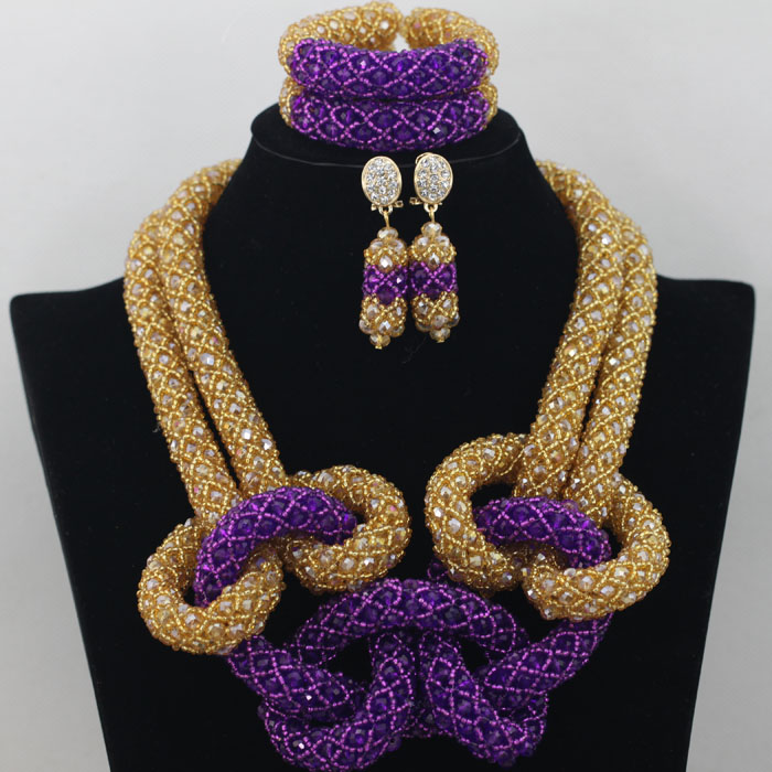 Splendid African Nigerian Wedding Jewelry Set Gold Purple Indian Party Bridal Beads Necklace Jewelry Set Free Shipping AMJ719Splendid African Nigerian Wedding Jewelry Set Gold Purple Indian Party Bridal Beads Necklace Jewelry Set Free Shipping AMJ719