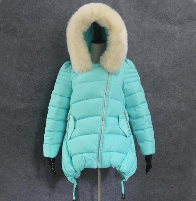 New Winter Jacket Women Slim Big Faux Fur Collar Thicken Warm Coat Hooded Mid-long Solid Down Cotton-padded Coat BL1488 hooded collar korean new 2014 winter clothing full sleeve solid down jacket slim women casual cotton padded coat ly1066