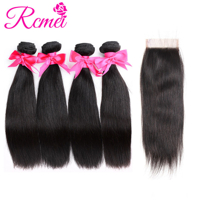 Rcmei Straight Bundles With Closure Peruvian Hair Weave 4 Bundles With Lace Closure Double Weft Human Hair Bundles Weave NonRemy