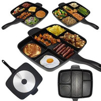 kitchen 5 in 1 Fry Pan Master Pan Non Stick Divided Grill/Fry/Oven Meal Skillet baking pan, 15, Black