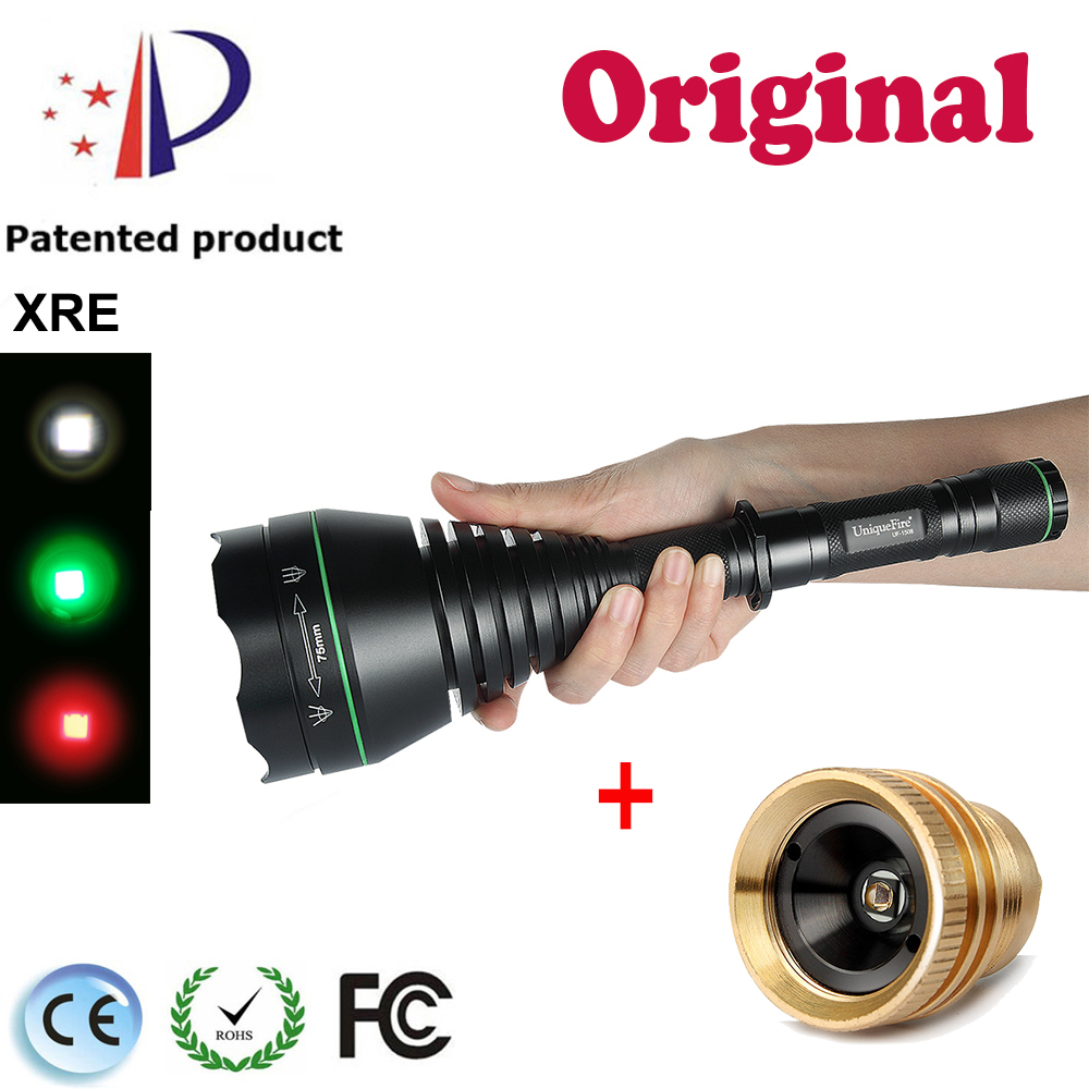 UniqueFire 1508-75mm Cree XRE Led Flashlight Colorful Light 3 Mode Waterproof Lamp Torch+ 1508 Osram 850nm Pill LED Module uniquefire 1508 75 cree xml xml2 led flashlight torch 1200lm single file lantern 18650 adjustable focus for camping