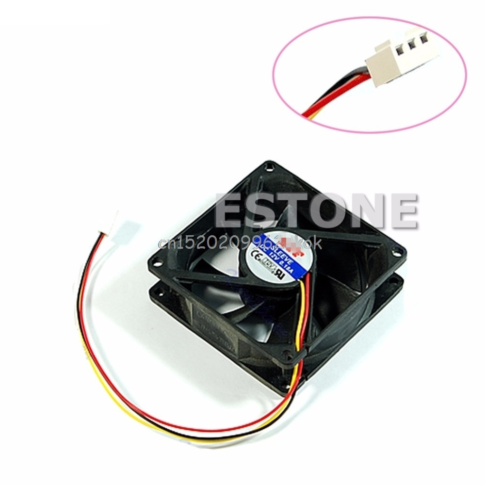 CPU PC Fan Cooler Heatsink Exhaust 80mm x 25mm 3 pin #H029# 2200rpm cpu quiet fan cooler cooling heatsink for intel lga775 1155 amd am2 3 l059 new hot