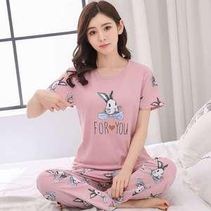 Image 4 - Piżama na zestaw damski lato jesień 2020 Plus rozmiar awaii bawełniane ubrania domowe kobiety bielizna nocna Cartoon kobieta Homewear pijama 3XL