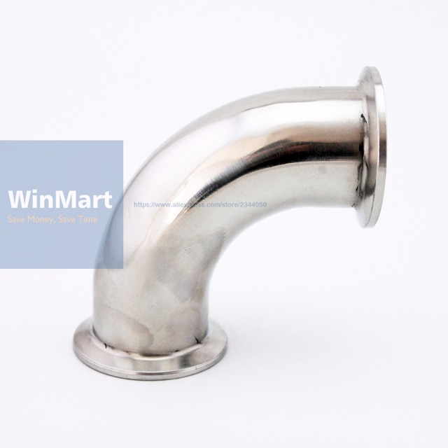 """51mm 2"""" Pipe O/D Sanitary Tri Clamp 64mm Feerule OD 90 Degree Elbow Pipe Fitting 304 Stainless Steel For Homebrew"""