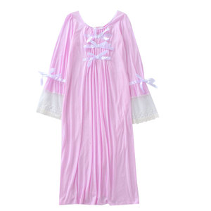 Image 5 - Camisón de encaje de verano para mujer, ropa de dormir de manga larga, color sólido, de talla grande, con cuello redondo, Sexy