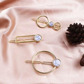 Horquillas geométricas elegantes de moda para mujer, adornos circulares de mármol, Clip dorado para cabello delicado, accesorios para mujer