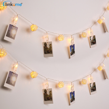 Здесь можно купить  ELINKUME Lighting Strings 4M40Led Fairy Christmas Garland Lamp Cotton Balls Photo Clip Dimmable Wedding Decoration Birthday Gift