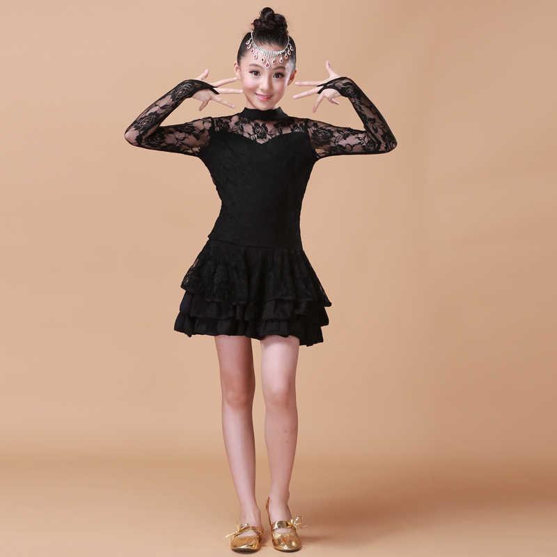 5 видов цветов, новые детские кружевные сексуальные бальные платья, платье для танго, сальсы, латинских танцев, детское черное, розовое кружевное платье для девочек с длинными рукавами