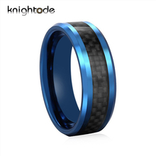 8mm Blue Tungsten Wedding Band Ring For Men Women Black Carbon Fiber Inlay Polished Shiny Engagement Fashion Rings