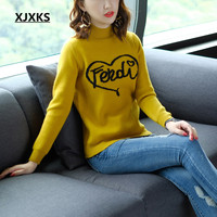 XJXKS ropa mujer invierno knitted sweater streetwear ulzzang young ladies women pullovers jumper letter sweaters