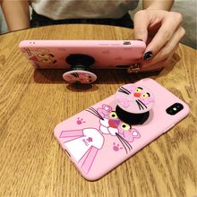 Cute Cartoon Silicone case for iphone X XR XS XS Max 6 6s 7 8 7plus pink mobile phone cover with air bag Stand holder