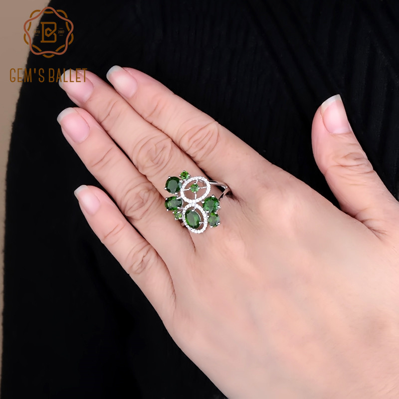 GEM S BALLET 4 65Ct Natural Chrome Diopside Gemstone Ring 925 Sterling Silver Classic Cocktail Ring