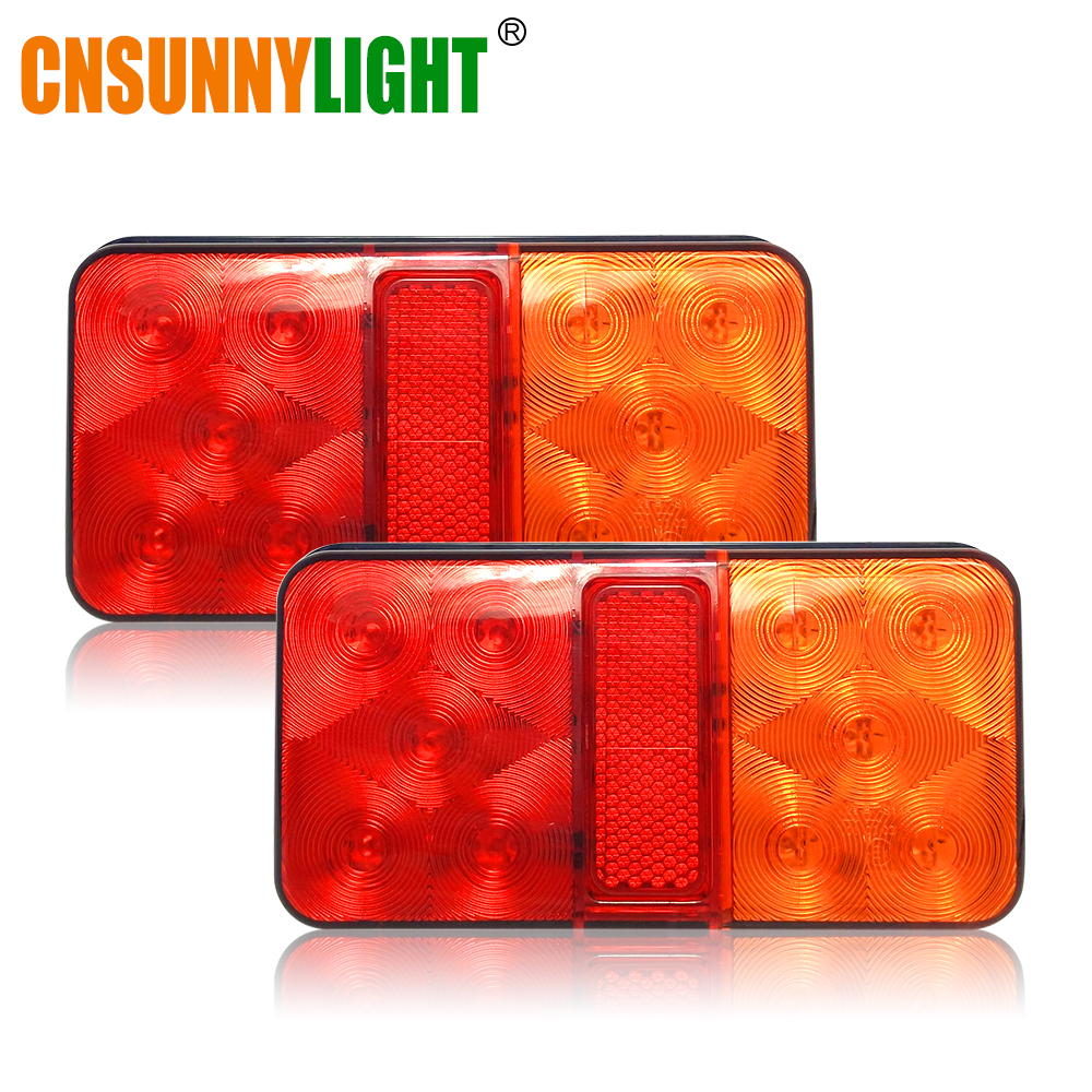 CNSUNNYLIGHT LED Car Truck Stop Rear Tail Brake Reverse Light Turn Indiactor 12V/24V ATV Trucks Trailer Lamps Tailight Assembly 1 pair 12v 24v led stop rear turn signal lorry stop rear tail indicator reverse lamps lights trailer truck