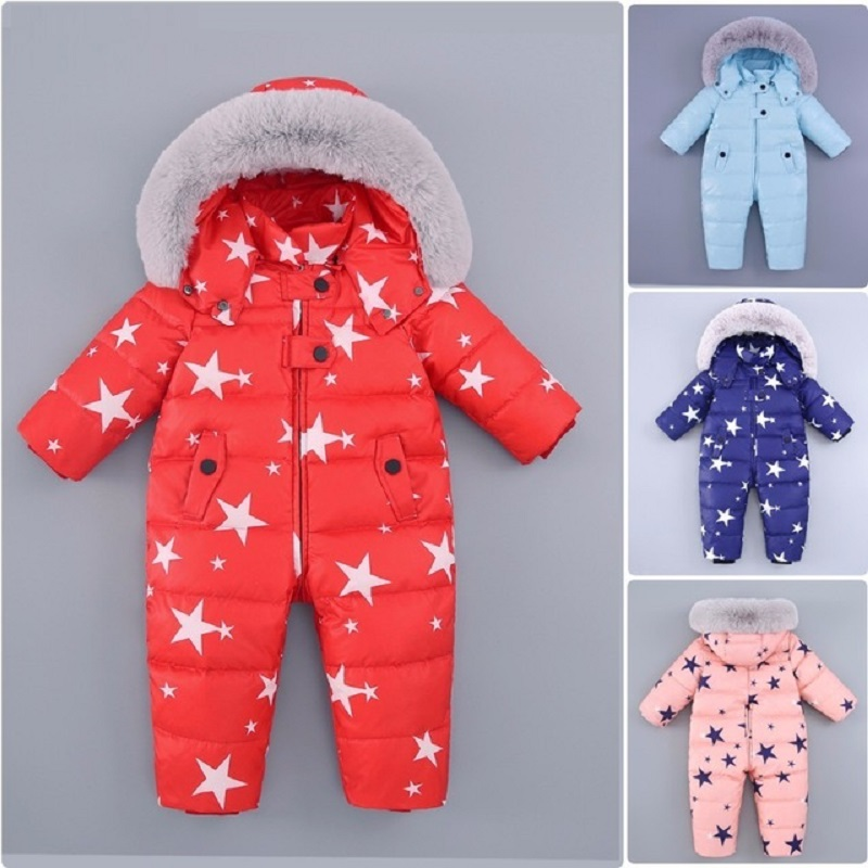 Russian Winter Baby Romper Boy Girl Jumpsuit Kids 90%Duck Down Jumpsuits Jacket for Girls Boys Snowsuit Coat Parka Infant Overal 0 2 years infant baby winter coat snowsuit duck down jumpsuit bodysuit suit toddler boy girls clothes winter kids romper 1820
