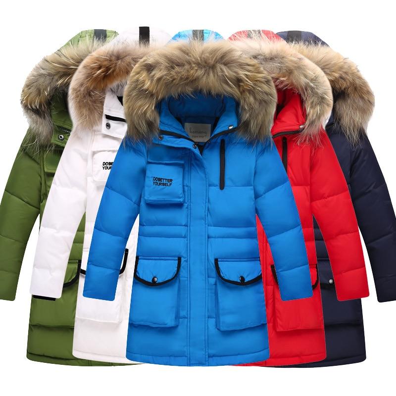 Jacket Winter Boy 2018 Fashion Down Park for the Boy Fur Hooded Thicken Warmly Children Outerwear Boys Parka Kids Winter Coats