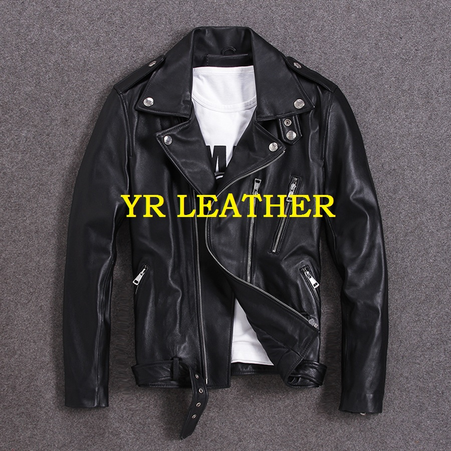 YR!Free Shipping.100% Sheepskin.Brand Classic Short Motor Biker Leather Jacket,mens Slim Genuine Leather Coat,plus Size Quality