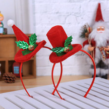 Рождественская повязка на голову Горячая Рождественская повязка на голову Санта Рождественские вечерние украшения двойная повязка на голову застежка обруч на голову Navidad 0,591