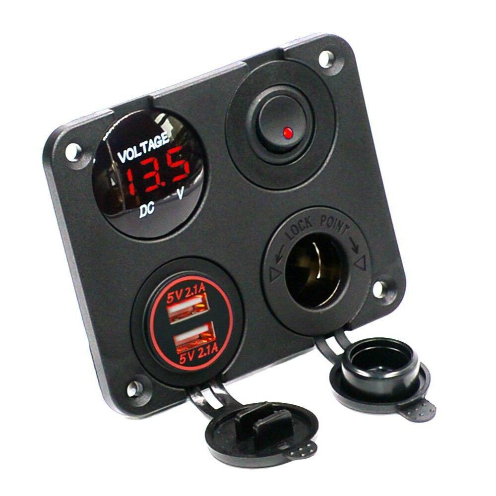 Double USB Chargeur 2.1A 2.1A Voltmètre 12 v Puissance Sortie + SUR-Interrupteur À Bascule pour Voiture Bateau Marine camion Véhicules Camping-Car (Rouge)