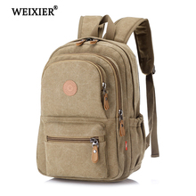 WEIXIER Zipper Hot Fashion Retro Men 2019 New Canvas Backpack Travel Bag Mens Large Capacity Student