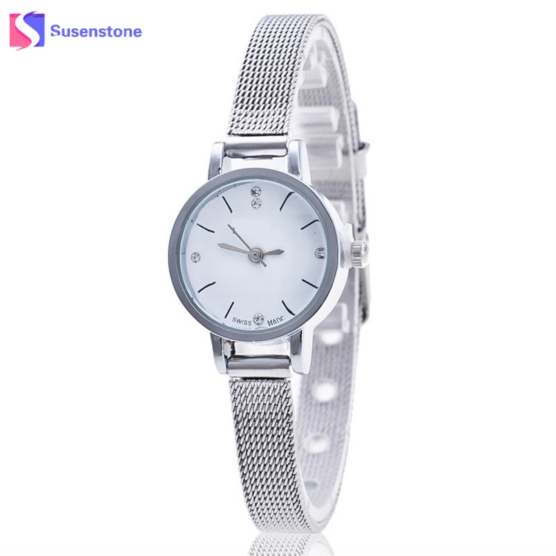 где купить  Women Ladies Watches Luxury Silver Stainless Steel Mesh Band Dress Watch Female Small Dial Analog Quartz Wrist Watch Clock reloj  дешево
