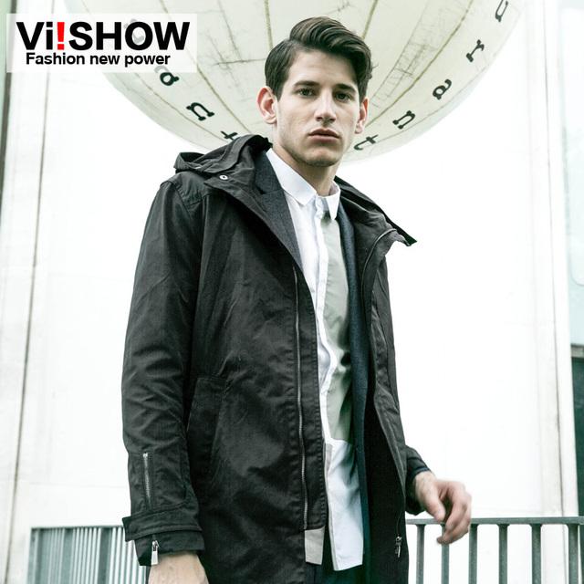 Viishow 2016 nova Arrivia famosa marca trench coat masculino inverno hoodies preto longo casaco à prova de vento homens chic cuff jaqueta com zíper