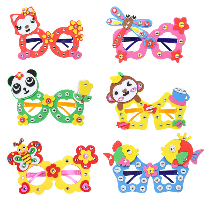 1 PCS Handmade DIY Eva Puzzle Glasses Personalized Decoration Animal Cartoon Educational Toys For Kids Children Gift Random Send