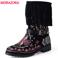 MORAZORA Large Size 34 43 Embroidery Snow Boots Women Shoes Mid Cald Boots Winter Slip On