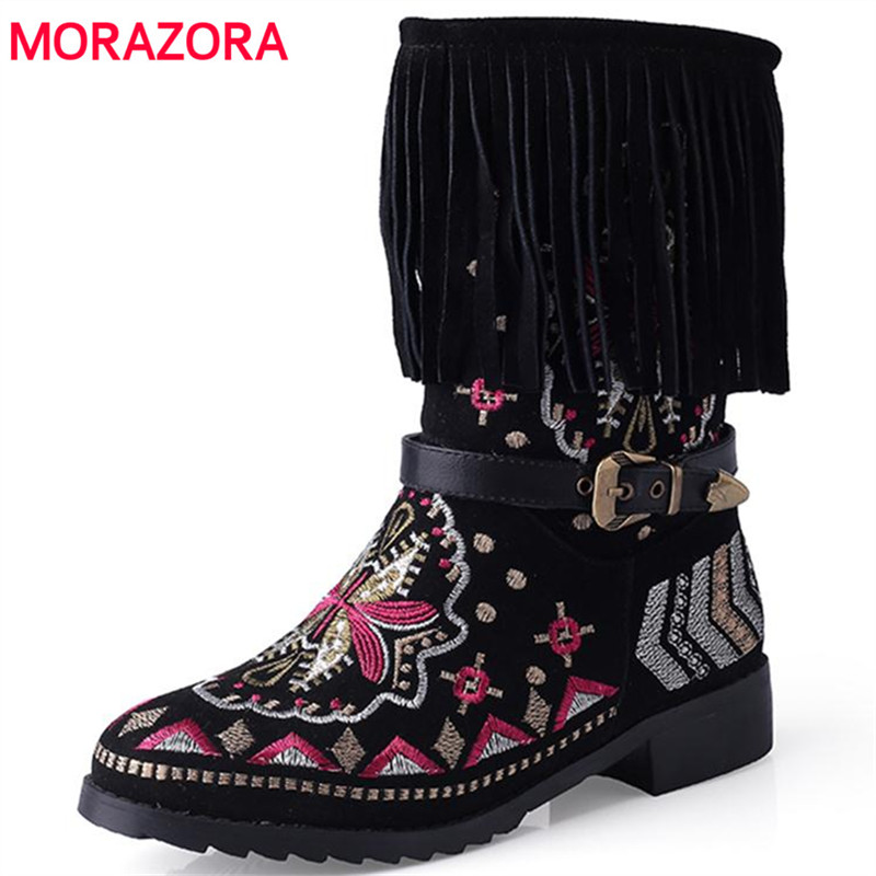 MORAZORA Large size 34-43 embroidery snow boots women shoes mid calf boots autumn slip-on fashion boots warm tassel buckle morazora russia women boots big size 35 44 keep warm snow boots platform winter mid calf boots fashion shoes solid white color