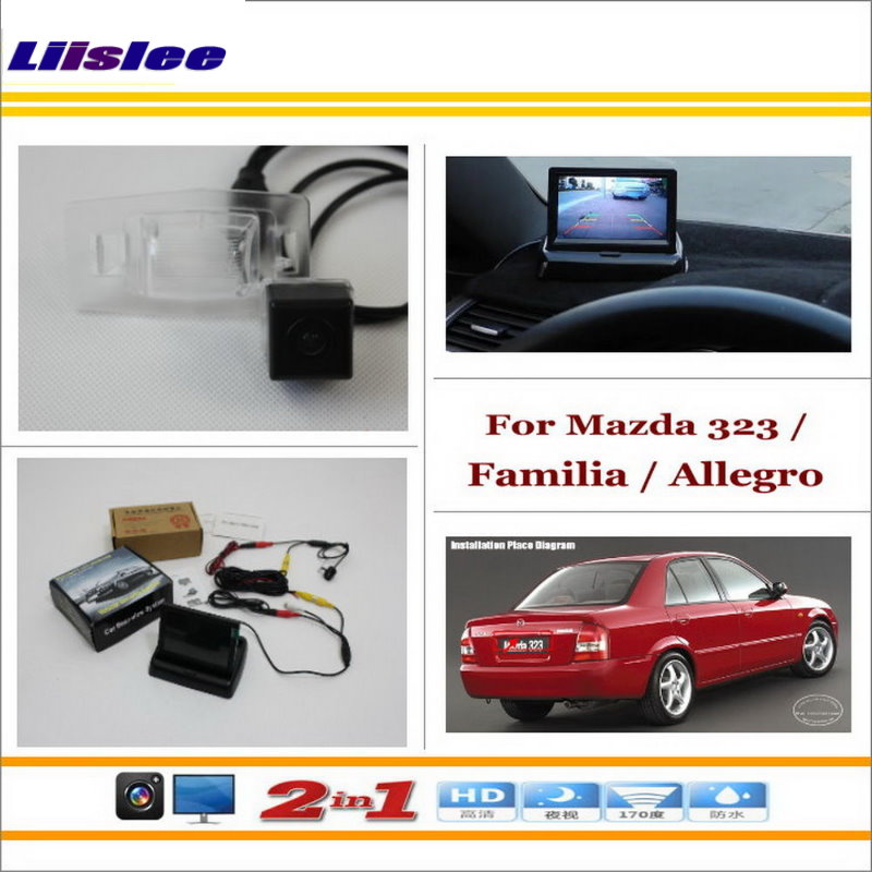 Liislee For Mazda 323 / Familia / Allegro 4.3 TFT LCD Monitor + Car Rearview Back Up Camera = 2 in 1 Car Parking System for mazda 2 demio 3 axela 323 familia 6 m6 liislee car side view camera blind spots areas flexible copilot camera monitor system