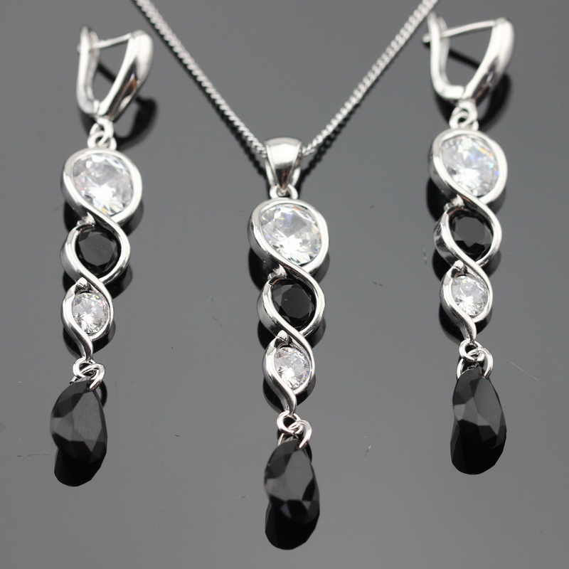 Ashley Black  Stones  White CZ Silver Color Jewelry Sets Necklace Pendant Long Drop Earrings For Women Free Gift Box