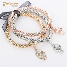 Rhinestones skull charm bracelets for women rose gold silver color zinc alloy female skeleton bracelet fashion