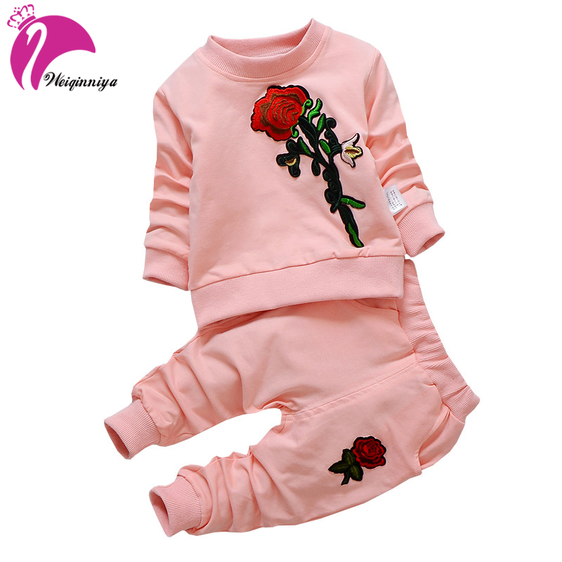 Tracksuit For Girls Children Clothing Kids Clothes Sports Suit For Girls Flower printed T-shirt and Pants Hot Sale
