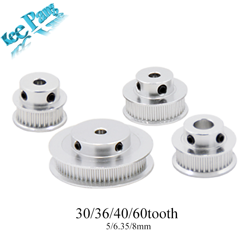 Kee Pang 1PC GT2 Timing Pulley For 3D Printer 30 36 40 60 Tooth Pulley Wheel Bore 5mm 8mm Aluminum Gear Teeth Width 6mm Part lee kum kee 213g