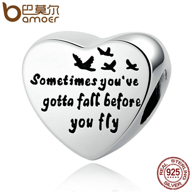 BAMOER Romantic 100% 925 Sterling Silver Heart Of Freedom Love Screw Charms fit