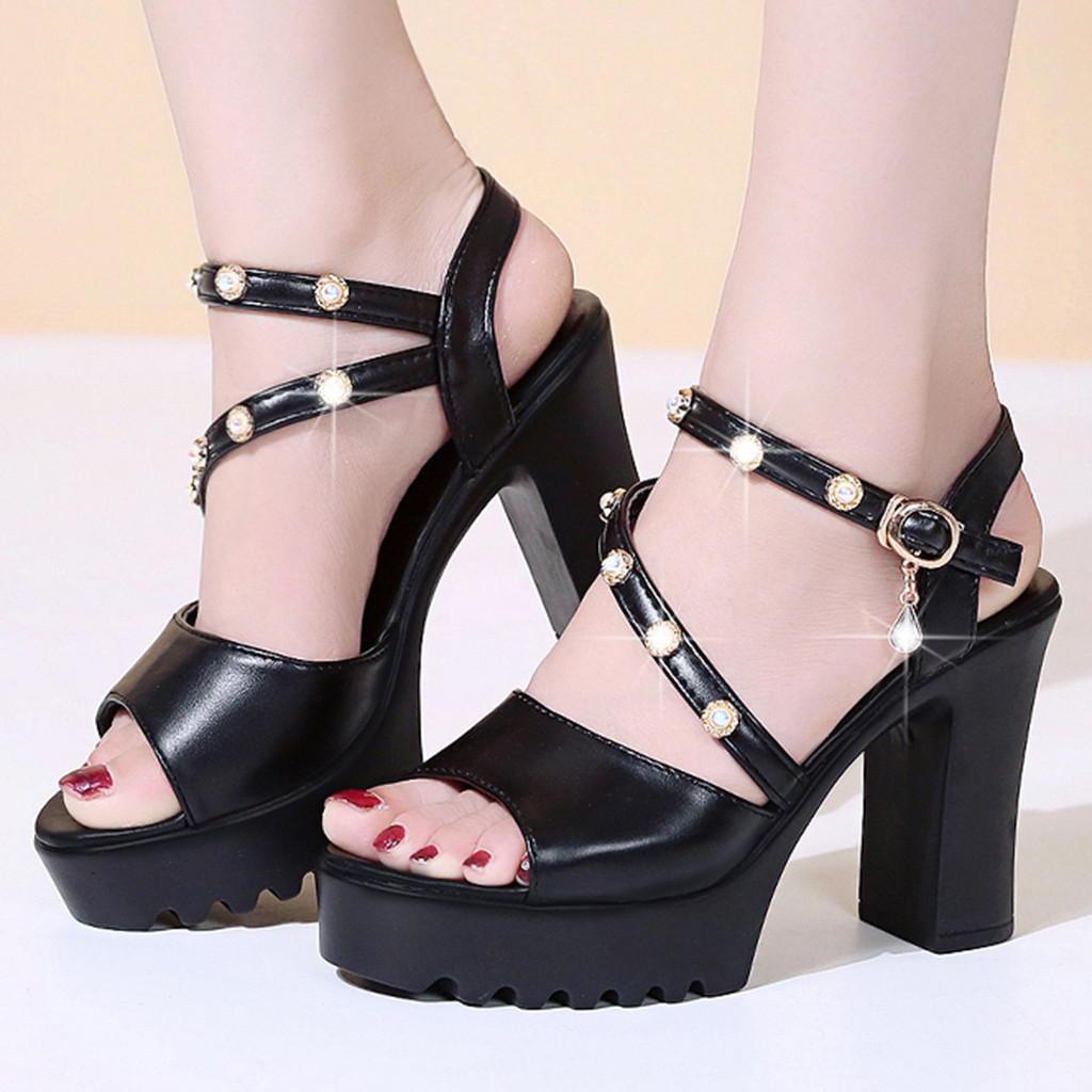 2019 New Hot Sale Women Ladies Fashion Crystal Solid Peep Toe Buckle Casual Shoes Sandals Sandalias de moda de las mujeres2019 New Hot Sale Women Ladies Fashion Crystal Solid Peep Toe Buckle Casual Shoes Sandals Sandalias de moda de las mujeres